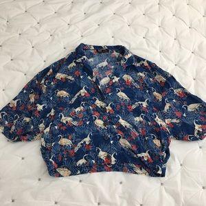 EUC Zara cropped tropical blouse